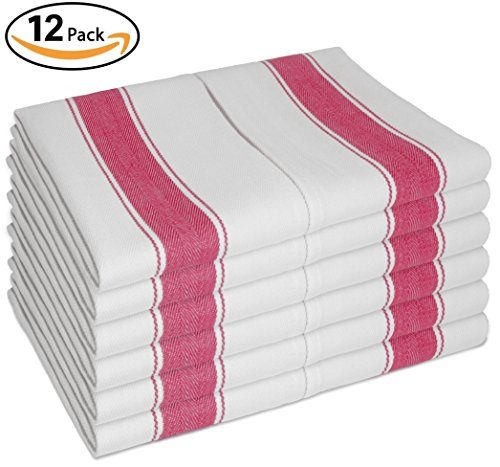 Dish Towels Vintage Style w/Loop, Set of 12 Large Kitchen Tea Towels 100% Cotton 28