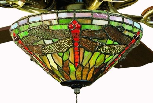 Sun Dragonfly Tiffany Stained Glass Ceiling Fan 52 Inches
