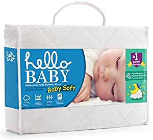 Hello Baby Waterproof Crib Mattress Cover- Quilted Ultra Soft White Bamboo Terry Fitted Sheet Style Blanket-like Pad- Top Infant Boy/Girl Bed Protector- Toddler, Kids, Boys/Girls Bedding Sheets Set from Hello Baby
