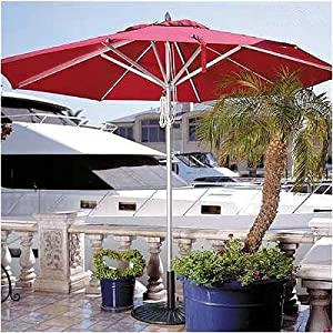 11' Ambrosia Commercial Umbrella Recover Fabric Color: Sunbrella Striped Forest Green/Natural