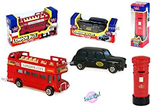 London Set: Double Decker Bus + Taxi + Post Box - Diecast Models