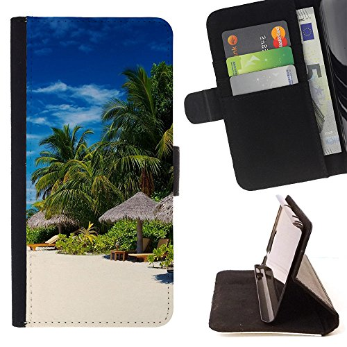 DEVIL CASE - FOR Samsung Galaxy S4 Mini i9190 - Palm Trees On Ocean Coast - Style PU Leather Case Wallet Flip Stand Flap Closure Cover (Samsung S4 Mini Palm Tree Cases compare prices)