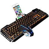 SADES keyboard and mouse sets,wired keyboard with,orange lights and mouse with 4 adjustable DPI for gaming,for PC/laptop/win7/win8/win10 (Color: Orange)