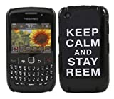 iTALKonline IMPERIAL BLACK CASE with WHITE TEXT KEEP CALM AND STAY REEM Pattern Super Slim Hydro Hard Protective Armour/Case/Skin/Cover/Shell for BlackBerry 8520 Curve 9300 3G