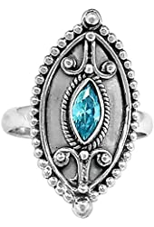 Xtremegems Blue Cz 925 Sterling Silver Ring Jewelry Size 9 312R