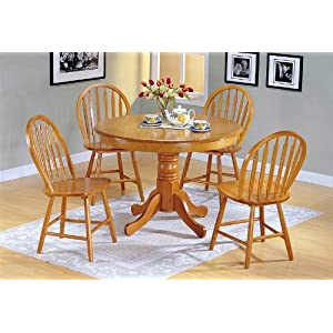 finish wood round dining table 4 windsor chair set furniture decor