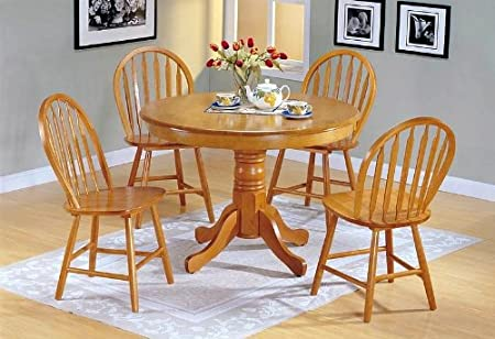 Sweet Oak Finish Dining Table/arrow Back Windsor Chair