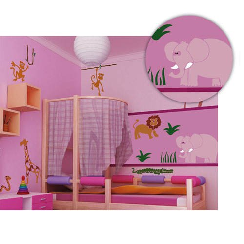 kinderzimmer schablonen wand. Black Bedroom Furniture Sets. Home Design Ideas
