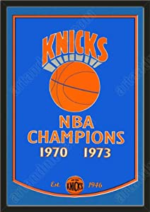 Dynasty Banner Of New York Knicks With Team Color Double Matting-Framed Awesome &... by Art and More, Davenport, IA