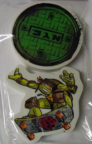 Staples Teenage Mutant Ninja Turtle Set of 2 Erasers ~ Sewer Cover, Michelangelo Air Time