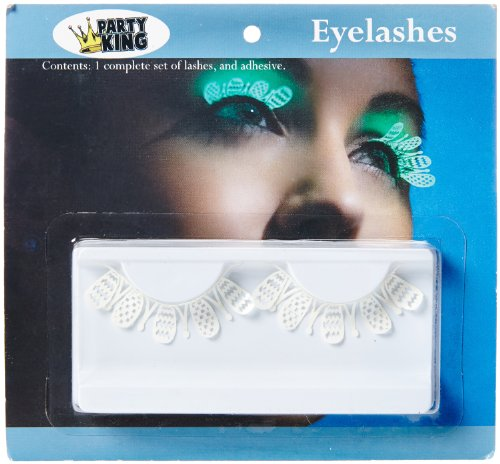 Party King Women's Glow In The Dark Whimsy Eyelashes, White, One Size