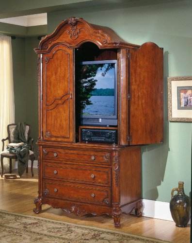 Homelegance Madaleine Solid Hardwood Flat Panel/Plasma/Lcd Tv Armoire In Antique Cherry Finish front-251177