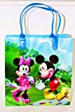 DISNEY MICKEY & MINNIE PLASTIC BAG 7.9. BLUE HANDLES. FREE US SHIPPING