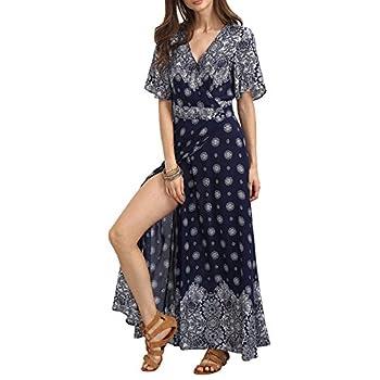 Floerns Women's Bohemian Short Sleeve Vintage Print Split Wrap Maxi Dress