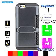 buy Iphone 6S Case,Iphone 6 Wallet Case,Supmax™ Card Slot Design Slim Fit Tpu+Pc Dual Layer Portable Credit Card Holder/Business Card Pack With Kickstand [Gifts] For Iphone 6 4.7'' (Black)