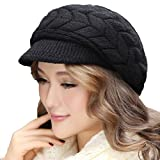 Women Girl Slouchy Knit Beanie Winter Newsboy Snow Hat (Black hat)