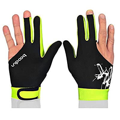 BOODUN Man Women Elastic Lycra 3 Fingers Gloves for Billiard Shooters Carom Pool Snooker Cue Sport- Good for Right or Left Hand