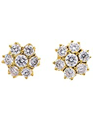 Archi Collection Classic Floral Golden Plated CZ Stud Golden Brass Stud Earring For Women - B00ZI8LZ2Q
