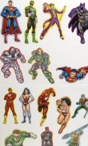 "JUSTICE LEAGUE STICKERS - DC Comic Super Hero Justice League Birthday Party Favor Sticker Set Consisting of 24 Stickers Featuring Different Designs of Superman, Green Lantern, Joker, Batman, Lex Luther, Flash, Wonder Woman, Aquaman Measuring 2.5"" to 3.5"" Per Sticker"
