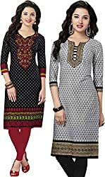 SDM Women's Kurti Printed Cotton Dress Material Unstitched Combo of 2 (P116-131, Unstitched)