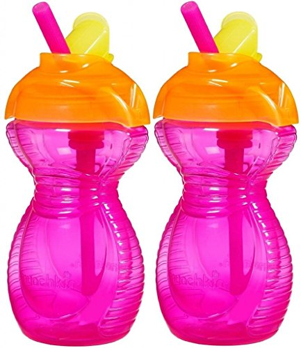 Munchkin Click Lock Flip Straw Cups - 9Oz - 2 Pack (Pink/Pink) front-759621
