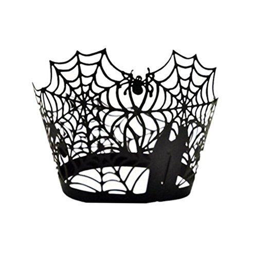 VORCOOL Cupcake Wrapper Spiderweb Laser papier découpé gâteau Cupcake WrappersWedding Birthday Party Decor 50pcs (noir)