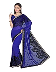 Designersareez Women Blue Faux Georgette Saree With Unstitched Blouse (1580)