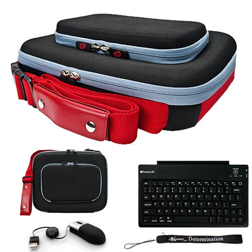 Black Red Ultimate Smart Travel Organizer Hard Nylon Durable Cover Carrying Cube Case // Airport Check-Point-Friendly // For Acer Iconia Tab A500 Netbook Notebook 10.1 Inch Screen + Includes a Accessory Pack Of Slim Wireless Bluetooth Keyboard with USB Mini Mouse