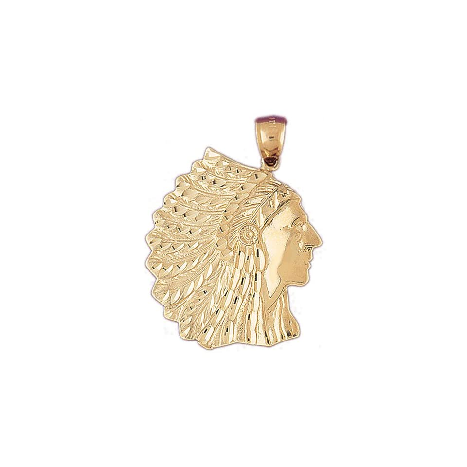 14K Yellow Gold Indian Head Pendant   42 mm (approx. 10.4 grams)