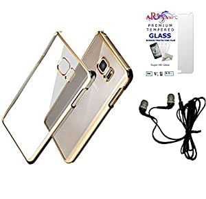 AryaMobiTM© Premium Look MeePhone Soft Silcon Back Cover, Tempered Glass and Hand Free for Samsung Galaxy S6 - Gold