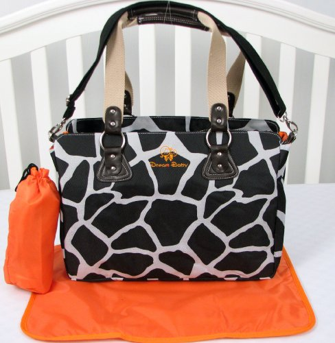 SOHO Giraffe Diaper Bag 3 in 1 with changing pad & Bottle case (Black)