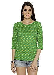 Funk For Hire Women Cotton Synker Knit Kite printed Sleeved Top (Green, , Size L)