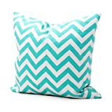Lavievert Decorative Cotton Canvas Square Throw Pillow Cover Cushion Case Handmade White and Cyan Chevron Stripe Toss Pillowcase with Hidden Zipper Closure (For Living Room, Sofa, Etc... Fit a 18 X 18 Inches Insert)