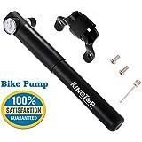 Bike Pump Kingtop Premium CNC Aluminum Bike Pump with Gauge Dual Action 210psi Portable Compact Lightweight
