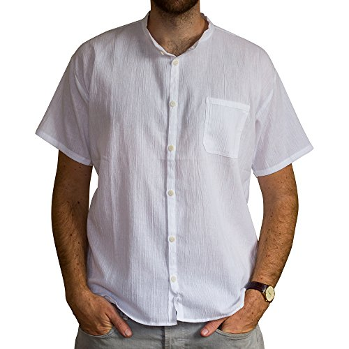 Cotton summer fair trade shirt, short sleeves - from Ecuador made for Tumi - light weight cool material. White - XXL.