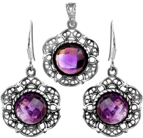 Faceted Amethyst Pendant with Matching Earrings Set - Sterling Silver