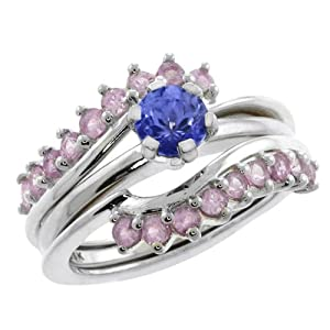 1.36 Ct Blue Tanzanite and Pink Sapphire 925 Sterling Silver Ring Guard Enhancer