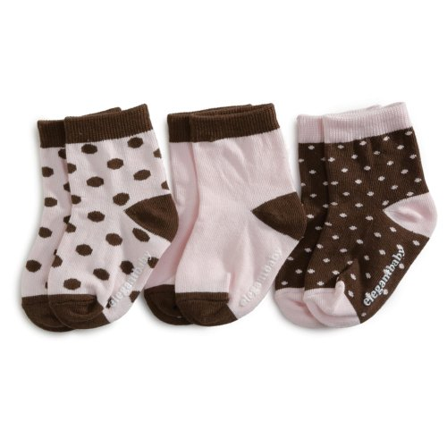 Elegant Baby 3-Pack Fashion Socks - Chocolate/Pink