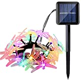 Icicle Dragonfly Solar Christmas Lights, 16ft 20 LED 8 Modes Waterproof Fairy Lighting for Christmas Trees, Garden, Patio, Wedding, Party and Holiday Decorations (Multi Color)