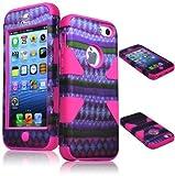 BasTexWireless Bastex Heavy Duty Hybrid Case for Apple Iphone 5c - Hot Pink Silicone / Purple & Green Diamond Chevron Tribal Aztec Hard Shell