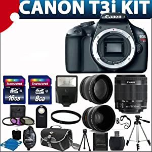 Canon EOS Rebel T3i 18 MP CMOS Digital SLR Camera and DIGIC 4 Imaging with EF-S 18-55mm f/3.5-5.6 IS Lens + 58mm 2x Professional Lens +High Definition 58mm Wide Angle Lens + Auto Flash + 59