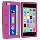 Hot Pink Cassette Retro Tape Silicone Rubber Gel Soft Skin Case Cover for Apple iPhone 5C