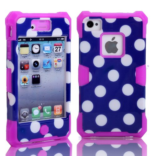 Magicsky Plastic + Silicone Hybrid Blue Polka Dot Design Glow Luminous Case For Apple Iphone 4 4S 4G - 1 Pack - Retail Packaging - Purple/Dark Blue