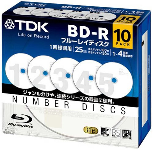TDK Bluray Disc 25 gb BD-R 4x Numbered Discs Series HD discs 10 Pack in Jewel Cases (Numbered Disks compare prices)