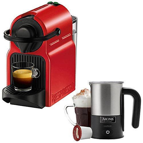 Nespresso Inissia Espresso Maker - Red (C40-US-RE-NE) with Aroma Stainless Steel One Serving Milk Frother