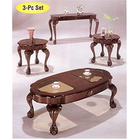 3pc Coffee Table & End Table Set Cherry Finish