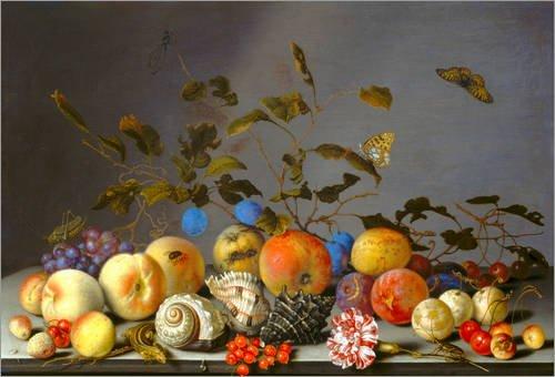 Stampa su acrilico 90 x 60 cm: Stilleben mit Früchten. di Balthasar van der Ast / ARTOTHEK