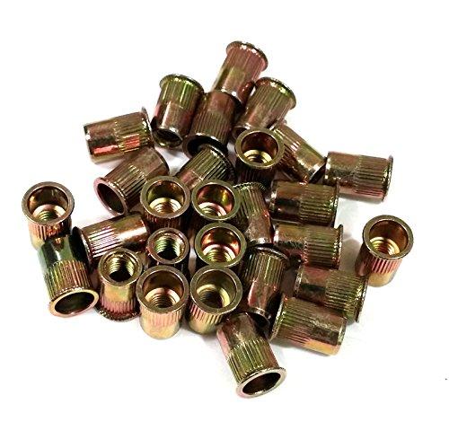 Veda 25 pcs x M10 Low Profile Head Metric Steel Rivet Nut Rivnut Insert 10mm