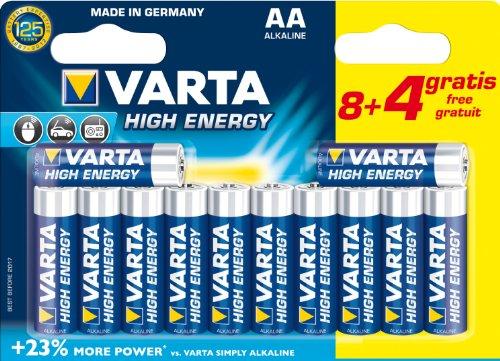 Varta - Pile Alcaline - AA x 8 + 4 gratuites - High Energy (LR6)
