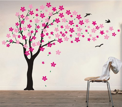 Pop Decors Drifting Flowers and Birds Tree Wall Decals for Nursery Room, 71""